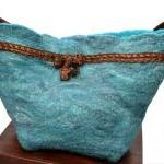 Merino and felt teal handba..