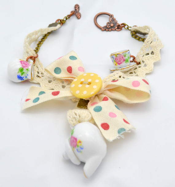 Shabby chic Time for tea charm bracelet - 